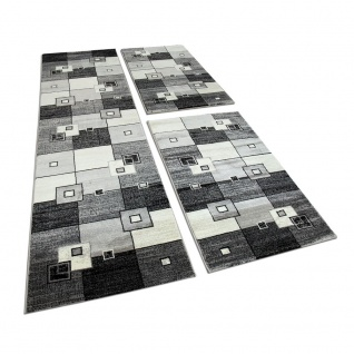 Bettumrandung 3 Tlg Designerteppich Läuferset Kariert Meliert Grau Schwarz Creme