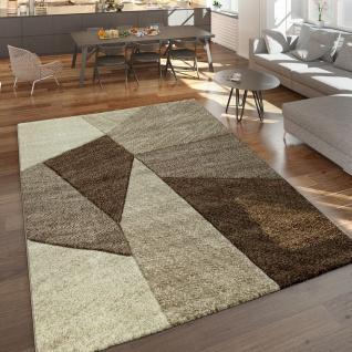 Designer Teppich Moderner Kurzflor Strick Optik Geomterische Muster Braun Beige