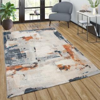 Teppich Wohnzimmer Vintage Kurzflor Muster Abstrakt Farbverlauf Modern Beige Grau