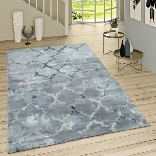 Kurzflor Teppich Modern Marokkanisches Muster Vintage Style Ombre Look Grau Blau
