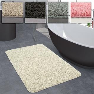 Badezimmer Teppich Einfarbig Hochflor Rutschfest In Versch. Größen u. Farben