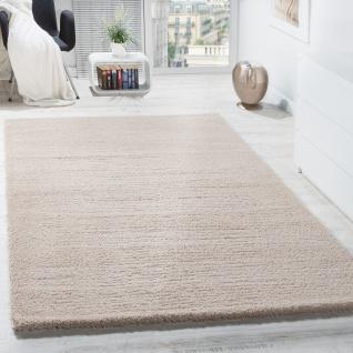 Shaggy Teppich Micro Polyester Wohnzimmer Teppiche Elegant Hochflor Hellbeige - Vorschau 1