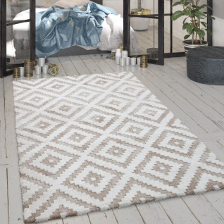 Wohnzimmer-Teppich, Glänzender Kurzflor Mit Rauten-Muster, In Beige Creme