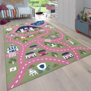 Kinder-Teppich, Spiel-Teppich Für Kinderzimmer, Straßen-Motiv Mit Schloss, In Grün Rosa