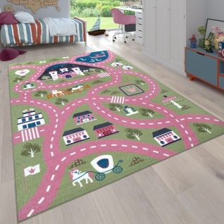 Spielteppich Kinderzimmer Rosa Grün Straßen Muster Stadt Motiv Ponys Schloss