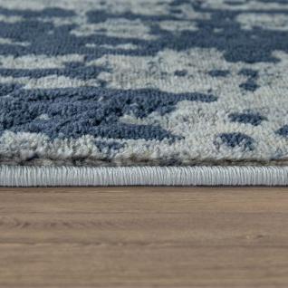 Wohnzimmer-Teppich, Kurzflor Mit Moderner Bordüre, Meliert In Grau Blau - Vorschau 2