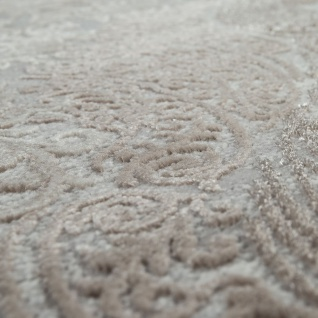 Orient Teppich Modern 3D Effekt Meliert Schimmernd Ornamente In Grau Gold - Vorschau 3