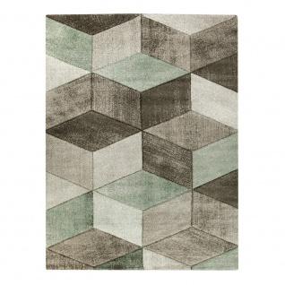 Teppich im Pastell-Trend, Beige Braun Grün | Moderne Muster in 3D-Optik | Wohnzimmer Inspiration | Schadstoffgeprüfter Kurzflor