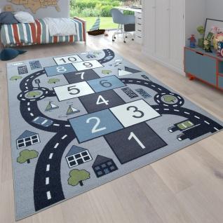 Kinder-Teppich Für Kinderzimmer, Spiel-Teppich Mit Hüpfkästchen und Straßen, Grau