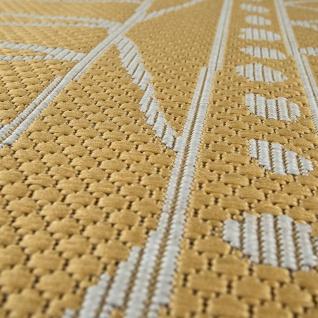In- & Outdoor Flachgewebe Teppich Modern Ethno Muster Zickzack Design In Gelb - Vorschau 3