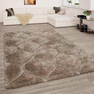 Hochflor Teppich Wohnzimmer Shaggy 3D Effekt Geometrisches Muster Modern Beige