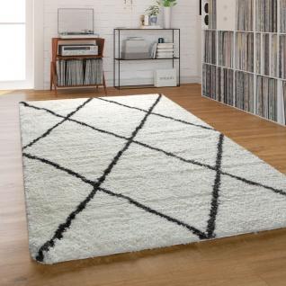 Teppich Wohnzimmer Shaggy Hochflor Einfarbig mit schwarzem Rauten Muster, Creme