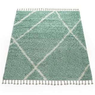 Wohnzimmer Teppich Grün Hochflor Skandi Design Rauten Muster Shaggy Weich - Vorschau 4