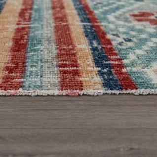 Outdoor Teppich Küchenteppich Balkon Terrasse Vintage Ethno Muster Rot Blau Beige - Vorschau 3