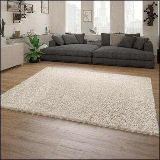 Teppich Wohnzimmer Hochflor Modernes Einfarbiges Design Unifarben Creme - Vorschau 2
