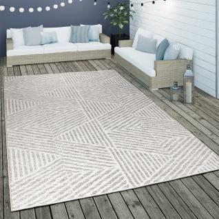 Outdoor Teppich Wetterfest Balkon Küche Modern Skandinavisch Streifen Muster Grau