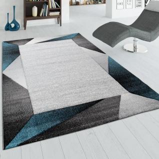 Wohnzimmer-Teppich Mit Bordüre und 3-D-Effekt, Kurzflor-Teppich, In Beige Türkis