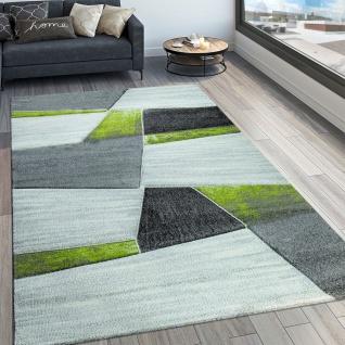 Designer Teppich Modern Konturenschnitt Geometrisches Muster Grau Grün