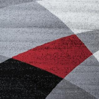 Designer Teppich Modern Geschwungene Wellen Linien Muster Kurzflor Meliert Rot - Vorschau 3
