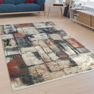 Kurzflor Wohnzimmer Teppich Abstraktes Design Modern Mosaik Optik Bunt