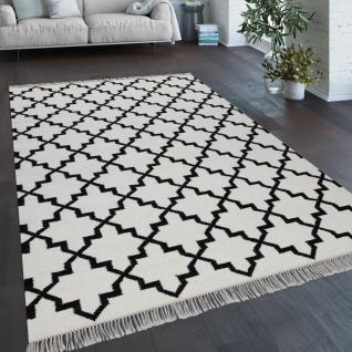 Teppich Wohnzimmer Marokkanisches Muster Fransen Handgewebt Baumwolle Weiß Schwarz