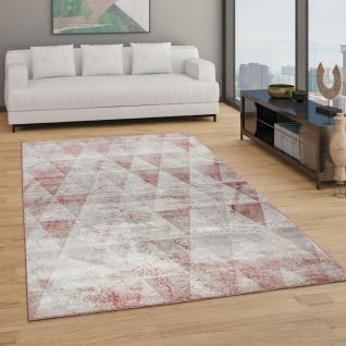 Teppich Wohnzimmer Kurzflor Boho Vintage Design Rauten Muster, In Grau Rot