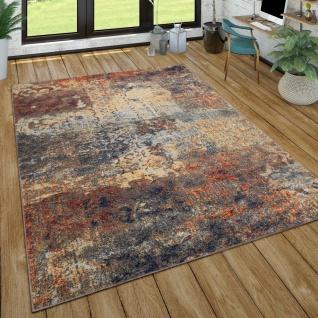 Teppich Wohnzimmer Vintage Look Mit Ethno Muster Kurzflor, Modern Mehrfarbig