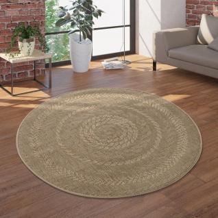 In- & Outdoor-Teppich, Rundes Flachgewebe Mit Sisal-Look Skandi-Design, In Beige