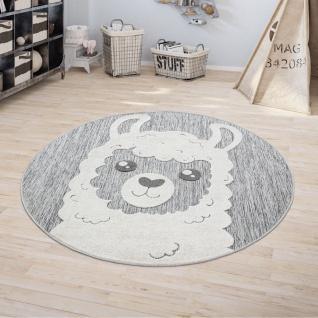 Kinderteppich Kinderzimmer Outdoorteppich Rund Spielteppich 3D Effekt Lama Grau
