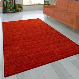 Teppich Handgeknotet Gabbeh Hochwertig 100% Wolle Dezent Meliert Terrakotta