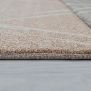 Skandi Teppich Wohnzimmer Blau Apricot Rauten Muster Pastell 3-D Design Kurzflor - Vorschau 2