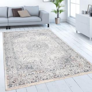 Teppich Wohnzimmer Kurzflor Orientalisches Muster Mit Bordüre Modern Beige Grau