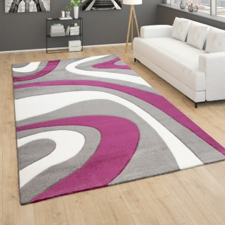 Teppich Wohnzimmer Kurzflor Modernes Abstraktes Wellenmuster Mit 3D Optik Lila