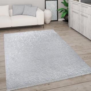 Teppich Wohnzimmer Kurzflor Modern Mit Fransen 3D Effekt Weich Ornamente Grau