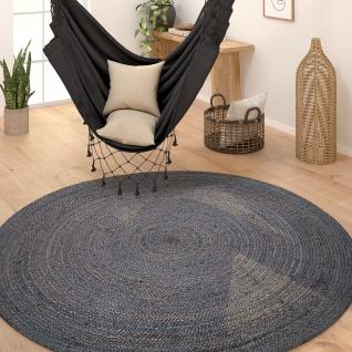 Teppich Rund Wohnzimmer Jute Boho Ethno Handgefertigter Natur-Teppich Grau