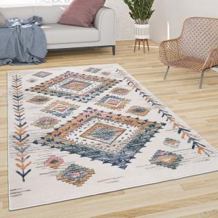 Teppich Wohnzimmer Kurzflor Pastell Mit Boho Rauten Muster Und Modernen Farben