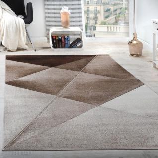 Designer Teppich Modern Geometrische Muster Kurzflor Braun Beige Weiß Meliert