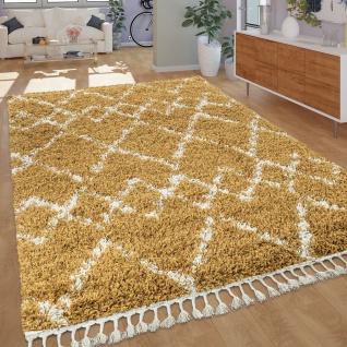 Ethno Teppich Gelb Hochflor Shaggy Rauten Muster Berber Stil Strapazierfähig
