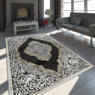 Orient Teppich Modern 3D Effekt Meliert Schimmernd Ornamente In Schwarz Gold