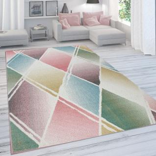 Teppich Wohnzimmer Kinderzimmer Jugenzimmer Moderne Pastellfarben, Rauten-Muster, Bunt