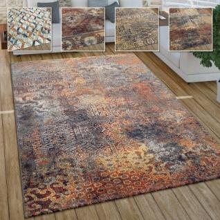 Wohnzimmer Teppich Im Vintage Used Look, Industrial Style Kurzflor in Rostfarben