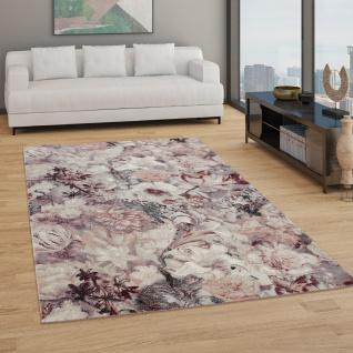 Teppich Wohnzimmer Kurzflor Boho Design Mit Modernem Floralem Muster, In Rot
