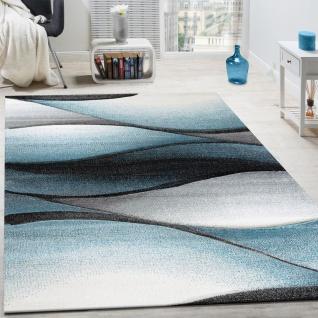 Designer Teppich Modern Abstrakt Wellen Optik Konturenschnitt In Grau Türkis