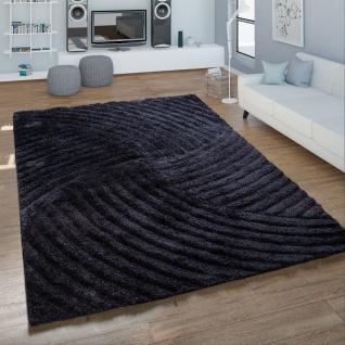 Hochflor Wohnzimmer Teppich Shaggy Wellen Muster Handgetuftet In Anthrazit
