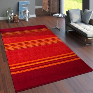 Teppich Handgewebt Gabbeh Qualität 100% Wolle Streifen Meliert Terrakotta