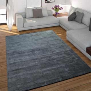 Teppich Handgefertigt Hochwertig 100% Viskose Cord Optik Vintage Glanz Anthrazit
