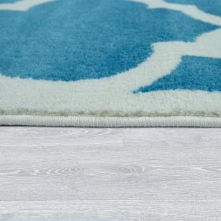 Wohnzimmer-Teppich, Designer-Kurzflor Mit Orientalisches Muster In Türkis Weiß - Vorschau 2