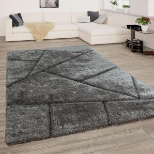Teppich Grau Anthrazit Wohnzimmer Hochflor Shaggy Weich Flauschig 3-D Muster