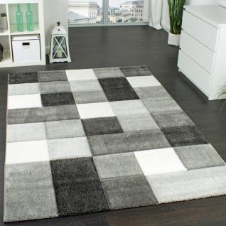 Designer Teppich Modern Handgearbeiteter Konturenschnitt Kariert Grau Weiß