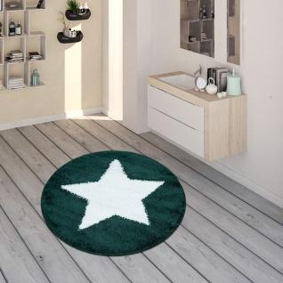 Badematte, Runder Kurzflor-Teppich Für Badezimmer Mit Sternen-Motiv In Grün